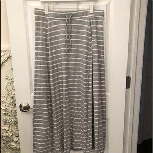 Cotton striped maxi skirt
